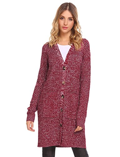 Misakia Casual Long Knit Coat Jacket Cardigan Sweaters For Women (Wine Red XL) (Long Coat Sweater)