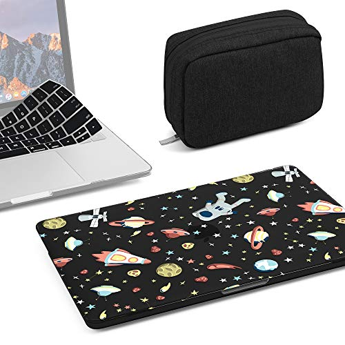 GMYLE 3 in 1 MacBook New Pro Touch Bar 13 Inch A1989/A1706/A1708 (2016,2017,2018 Release) Bundle, Hard Glossy Black Case, Fabric Storage Organizer Pouch Bag with Keyboard Cover - Space Walk Set