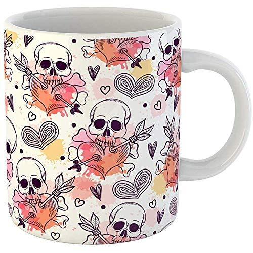 (11 Ounces Coffee Tea Mug Gifts Funny Ceramic Pattern Skull and Heart Freehand Drawing Halloween Gifts For Family Friends Coworkers Boss)