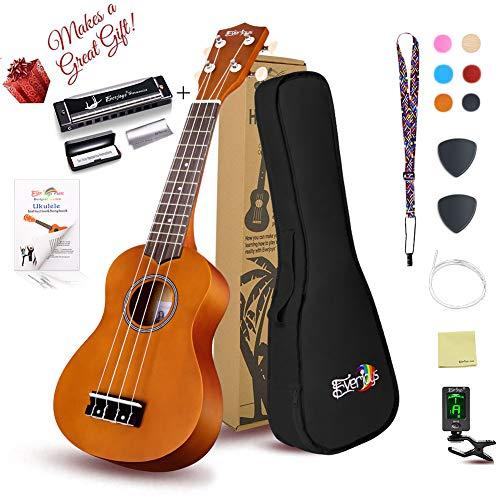 Soprano Ukulele Beginner Pack-21 Inch w/Gig Bag Fast Learn Songbook Digital Tuner All in One Kit Honey