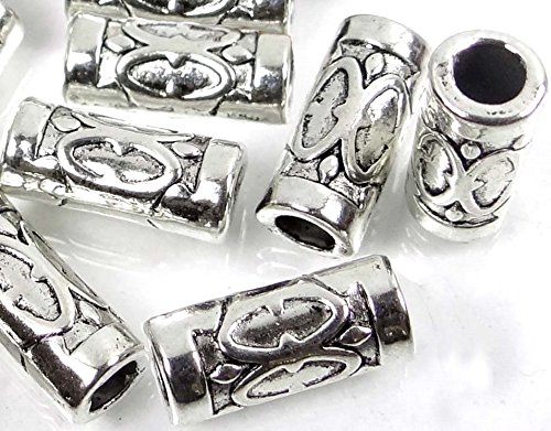 Loose Beads 15 Silver Pewter Tube Space 13x5mm Beads ~ Lead-Free ~ Jewellery Maker Crafts