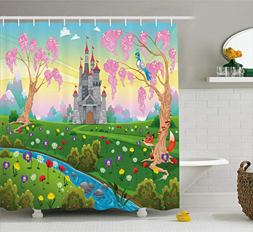Cartoon Decor Shower Curtain by Ambesonne, Fairy Tale Castle Scenery in Floral Garden Princess Kids Girls Fantasy Picture, Fabric Bathroom Decor Set with Hooks, 70 Inches, Multi
