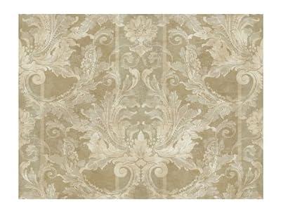York Wallcoverings GL4724 Brandywine Aida Damask Stripe Wallpaper, Antique Gold/Pale Gray
