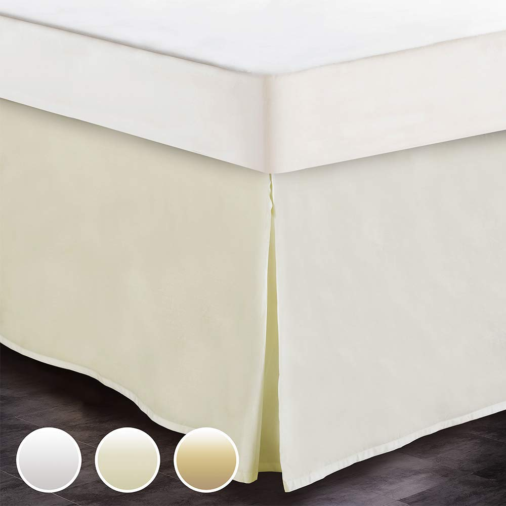 White House Queen Size Split Corner Bed Skirt 16'' Inch Drop - 100% Egyptian Cotton Luxurious & Hypoallergenic Easy to Wash Wrinkle, (Ivory, Queen Size Bed Skirt with 16 inch Drop)