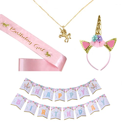 Unicorn Party Supplies by A&S Design, Set of 4 - Value Pack - Unicorn Headband + Satin Unicorn Sash + Unicorn Banner + Unicorn Necklace - Happy Birthday!