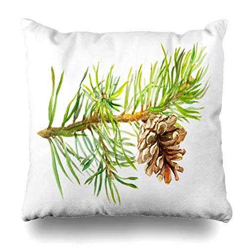 Ahawoso Throw Pillow Cover Pinecone Green Christmas Pine Tree Branch Cone Watercolor Nature Watercolour Color Water Conifer Home Decor Cushion Case Square Size 18