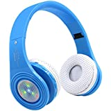 Kids Bluetooth Headphones Wireless, Children Over Ear Headset with Mic,Noise Cancelling Reduction, Foldable Adjustable Lightweight,Flashing LED Lights,for Cellphone Tablets PC iPad for Boy Girl-Blue