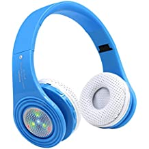 Kids Bluetooth Wireless Headphones, On/Over Ear Headset,Changing Lights,Adjustable,Foldable,Stereo Sound with Bass,Noise Reduction,Built-in Mic, For Phone ,PC,Tablets,for girl/boy/children/teen-Blue