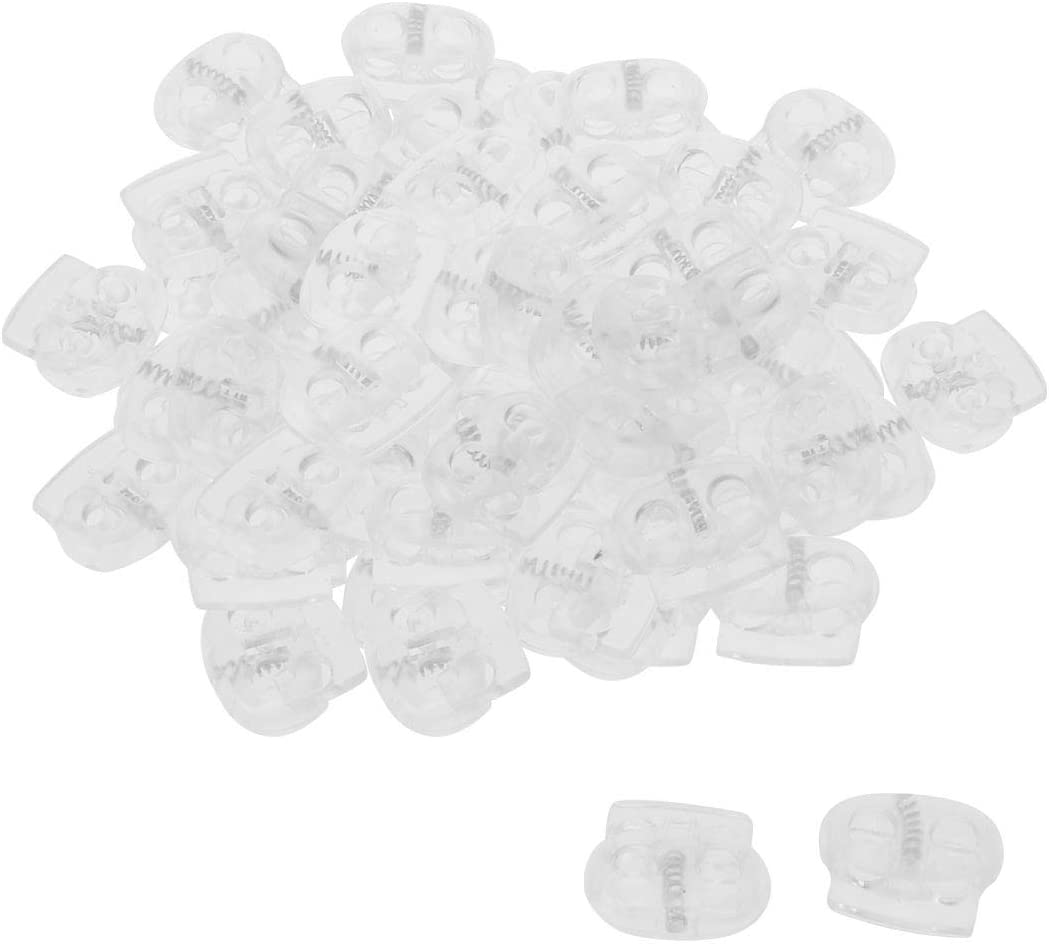 Shoelaces Double Hole Rope Toggle Fastener for Clothing uxcell 100pcs Plastic Spring Cord Locks Stopper Bags