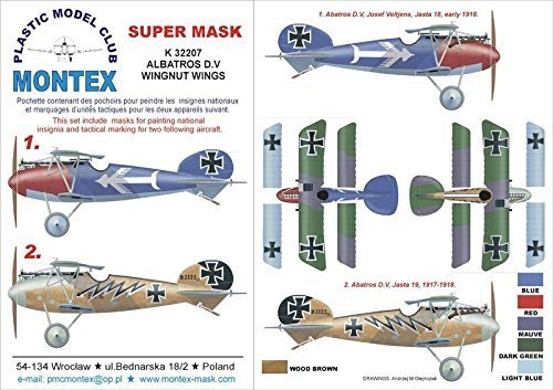 Montexスーパーマスク1 : 32 Albatros D V for Wingnut Wings Spraying Stencil # k32207   B01FR8STDE