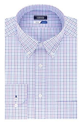 - IZOD Men's Regular Fit Stretch Multi Tattersall Dress Shirt, Blue Topaz, 15-15.5