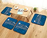 Leighhome Chair Cushions College Celebration Ceremony Certificate Diploma Square Academic Cap Blue and White Non Slip Comfortable W25.5 x L25.5/4PCS Set