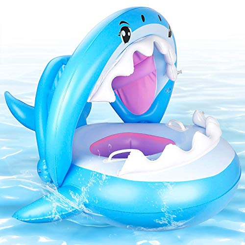 CHGeek Baby Pool Float, Shark-Shaped Infant Baby Pool Float with Canopy Inflatable Floatie Swim Ring for Kids Aged 9-36 Months (Shark Shape)