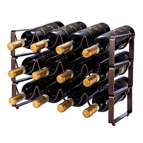 (GONGSHI 3 Tier Stackable Wine Rack, Countertop Cabinet Wine Holder Storage Stand - Hold 12 Bottles, Metal (Embossed Bronze))