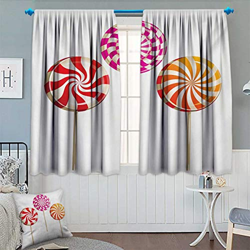 Universal Snack Stick - Chaneyhouse Colorful Waterproof Window Curtain Realistic Sugary Treats on Sticks Spiral Round Lolly Pops Delicious Tasty Snacks Blackout Draperies for Bedroom 63