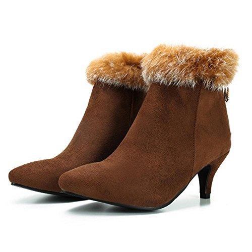 Boots Bootie Zipper Taoffen Women's Brown wZSx1p