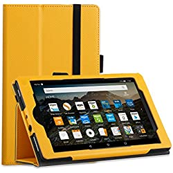 Fire HD 8 Case 2017- Leather Cover Smart Auto Sleep/Wake Shell Flip Folio Folding Cover with Stand for Amazon All New Kindle Fire HD 8 Tablet 7th Gen 2017 Only Release (Yellow)