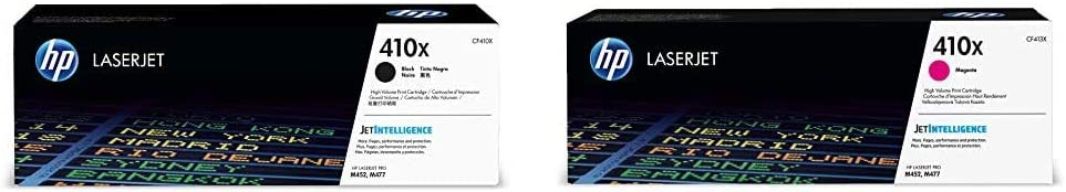 HP 410X | CF410X | Toner Cartridge | Black | High Yield & 410X | CF413X | Toner Cartridge | Magenta | High Yield