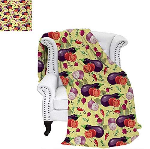 Weave Pattern Blanket Eggplant Tomato Relish Onion Going Green Eating Organic Tasty Preserve Nature Custom Design Cozy Flannel Blanket 70