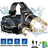 JLANG Headlamp. LED Headlamp Flashlight USB Rechargeable. IPX4 waterproof with 5 Modes and Adjustable Headband adult head lamp. Perfect forCamping, hunting, running, hiking