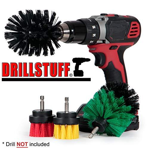 Power Scrubbing Brush - Cordless Drill Attachment Set - Shower Cleaning Brush for Drill - Stiff Bristle Concrete/Deck Scrub Brush - Kitchen Stove/Oven/Sink Scrub Brush - BBQ Grill Cleaning Brush