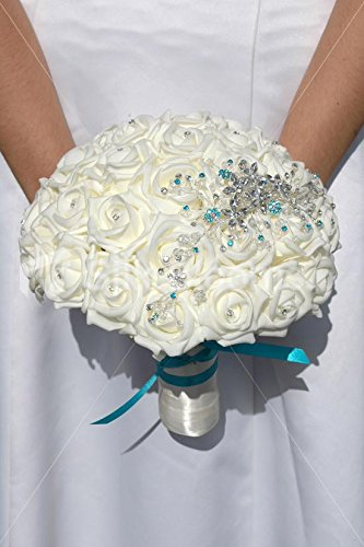 Turquoise Brooch On Wedding Dress