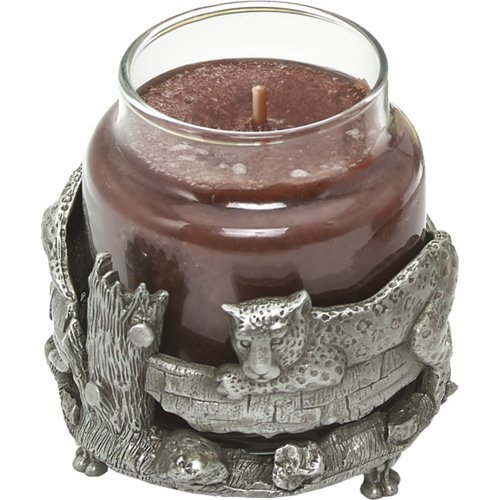 OKSLO Bianca Collection Leopard and Tree Pewter Jar Candle Holder