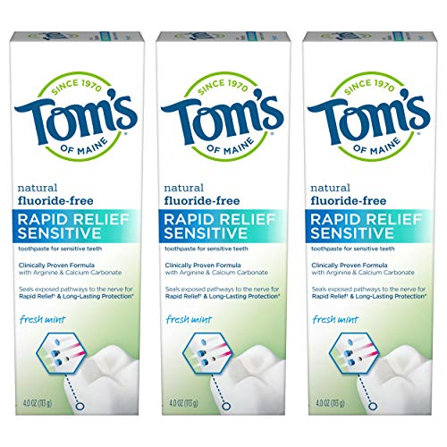 Tom's of Maine Fluoride-Free Rapid Relief Sensitive Toothpaste, Fresh Mint, 4 oz. 3-Pack (Packaging May Vary)