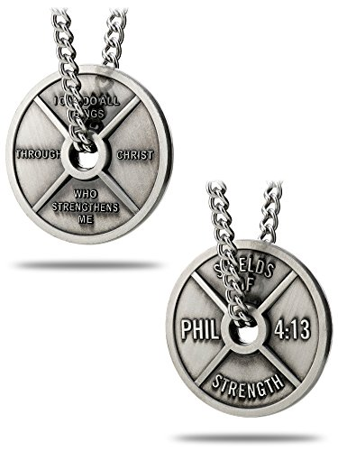 Men's Antique Finish High Relief Weight Plate Necklace-Phil 4:13 ()