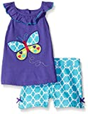 Little Bitty Little Girl Short Set Summer Cotton Clothing Set Essential Shorts Set(Purple 6T