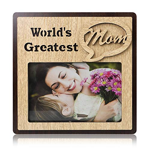 QTKJ Unique Double Wood Frame World's Greatest Mom Glass Picture Frames for Tabletop Display, Gift Picture ()