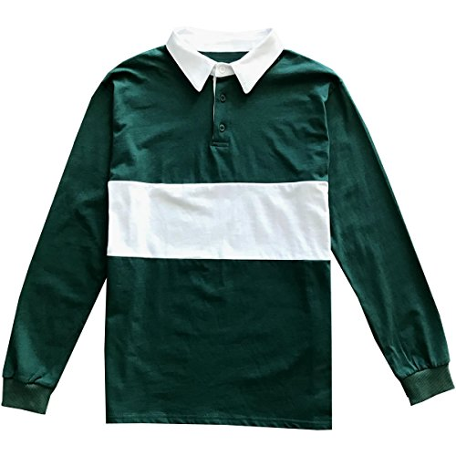 Kings Of NY Classic Mens Long Sleeve Sports Polo Rugby Shirt Large Green ()
