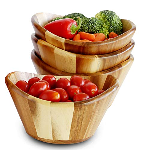 WELLAND 4 pcs Christmas On Sale Acacia Curved Wooden Bowls for Food salad bowl, 7.87'' x 7.48'' x 3.93''