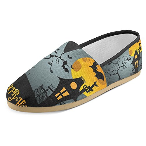 InterestPrint Women's Loafers Classic Casual Canvas Slip On Fashion Shoes Sneakers Flats Size 10 Cute Happy Halloween (Halloween Shoes)