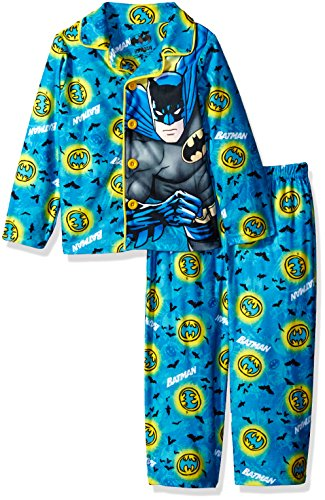 (DC Comics Little Boys' Toddler Batman Sleepwear Coat Set, Turquoise, 2T)