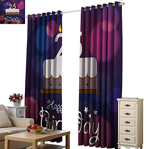 Homrkey Warm Curtain 25th Birthday Out of Focus Background with Cute Graphic Cake and Candles Art Print Light Blocking Drapes with Liner W84 xL108 Blue Pink White