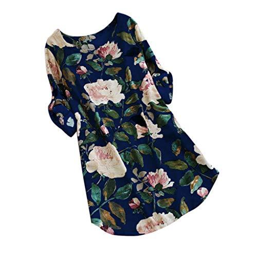 Women Mini Dress,LuluZanm Ladies Loose Floral Print Summer Party Long Long Sleeve Dress Plus Size Blue