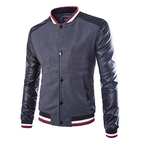 Hombres chaqueta versión coreana de la elegante y versátil chaqueta Sau Lounge en el extremo de los hombres chaquetas Chaqueta de béisbol, gris ,M