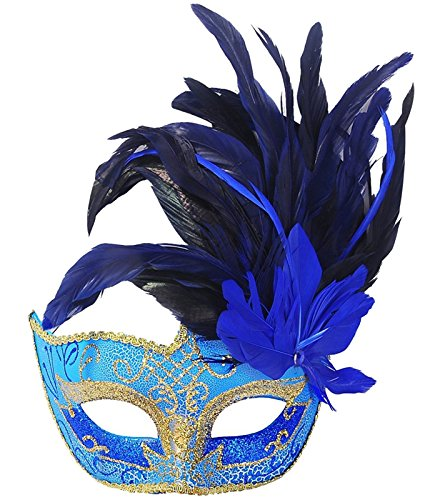 2565db81e593 Costume Mask Feather Masquerade Mask Halloween Mardi Gras Cosplay Party  Masque (Blue)