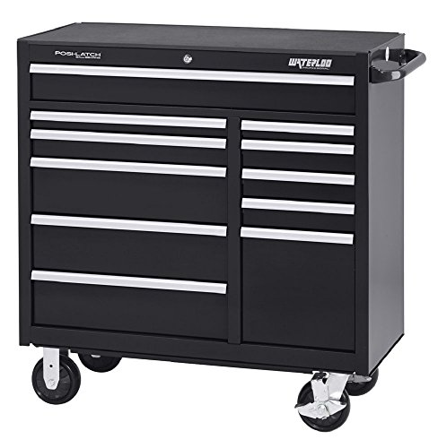 "Waterloo Professional Series 11-Drawer Rolling Tool Cabinet with Internal Tubular Keyed Locking System, Black Finish, 41"" W"