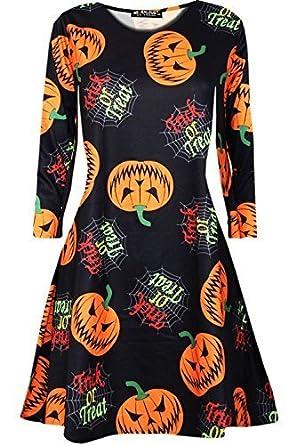 Oops Outlet Damen Gespenstisch Halloween Gruslige Pumpkin Damen Langärmlig  Spinne Skelett Kittel Swing Minikleid: Amazon.de: Bekleidung