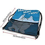 ANYWN Horton Hears A Who Drawstring Backpack with Mesh Pockets Bundle Travel Bag Sports Portable Backpack School Rucksack 3D Print