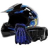 Youth Offroad Gear Combo Helmet Gloves Goggles DOT Motocross ATV Dirt Bike Blue Black Crazy Eye, X-Large