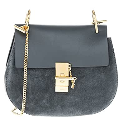 Chloe Women's 'Drew' Suede and Smooth Leather Shoulder Bag Dark Cerulean Blue