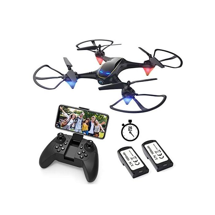 51EGVKcWY3L Tome fotos y videos HD, disfrute de la función FPV: el dron E58 está equipado con una cámara HD 720P de gran angular de 120 ° que incluye ángulo ajustable, que captura videos de alta calidad y fotos aéreas claras. El sistema FPV de transmisión en tiempo real de Wi-Fi se puede conectar a su teléfono con el dron y la vista se mostrará directamente en su teléfono, por lo tanto, disfrute del mundo por encima del horizonte, capture con precisión fotos y grabe videos para momentos extraordinarios. Puede llevarse alrededor y brazo de dron reemplazable: el pequeño fuselaje contiene un rendimiento excelente, un diseño plegable inteligente, le permite viajar ligero, disfrutar de la diversión de vuelo. El brazo del dron es reemplazable, cuando el motor o el brazo del dron están rotos, no necesita preocuparse de que el dron ya no funcione. Simplemente reemplace el brazo del dron y puede volar nuevamente. Es fácil para todos volar el dron: en el modo de retención de altitud, puede bloquear con precisión la altura y la ubicación, desplazarse estable y capturar videos o fotos desde cualquier ángulo de disparo, lo que hace que la experiencia sea muy fácil y conveniente, incluso un novato, puede jugar dis drone fácilmente. El dron despega automáticamente y aterriza con un clic, lo cual es muy útil. Hay una función de aterrizaje de emergencia para evitar colisiones con otras cosas.