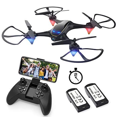 EACHINE E38 Drones con Camara para Adultos LED Tiempo de Vuelo Largo WiFi FPV 720P 120°FOV HD Video Selfie Drone para Ninos y Principiantes Drone para Interiores Exteriores (2 Baterias)