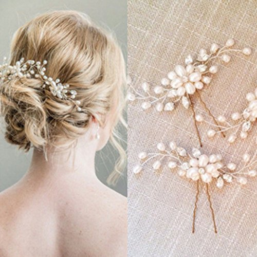 Bridal Hair Pins Set, Wedding Crystal and Pearl Hair Pin for Bride and Bridesmaid (Set of - Pin Pearl Set