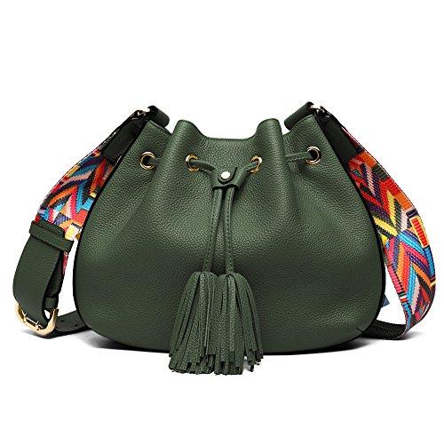 (Women Bucket Bags, Cowhide Genuine Leather Retro Shoulder Bags Purse Crossbody Ladies Tote Bags with Tassels (Army Green))