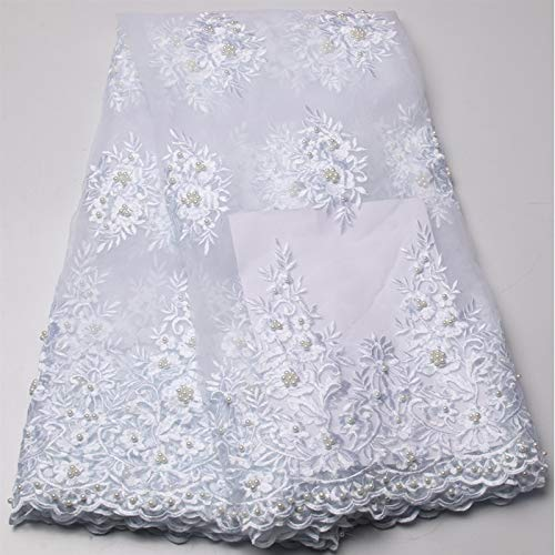 Laliva French Laces Fabrics Tulle French White Color African Laces Beaded Lace Fabric AMY719B-C - (Color: As Picture)