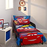 4 Piece Red Blue Kids Cars Toddler Bed Set, Yellow White Disney Race Car Bedding Lightning McQueen Comforter Pattern Rusteze Racing Team Trophy Children's Bedroom Television Movie Kid Bed, Polyester